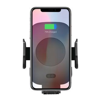 Držák mobilu do auta, s bezdrátovým nabíjením, motorické uchycení, senzor pohybu, černá