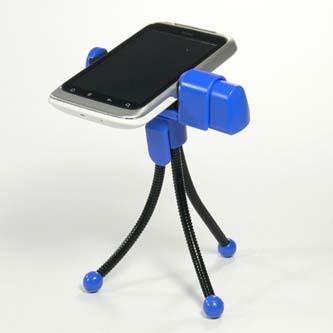 Držák mobilu na stůl, modrý, termoplast, Logo, pro jakýkoliv mobilní telefon, modrá, mobil