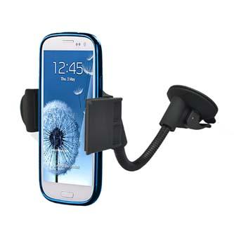 Držák mobilu do auta, nastavitelná šířka, černý, plast, přísavka na sklo, s ramenem, kloubový, černá, mobil