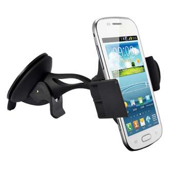 Držák mobilu do auta, nastavitelná šířka, černý, plast, přísavka na sklo, kloubový, černá, mobil