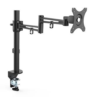 """Polohovatelný držák pro monitor, 10KG, svorka, 17""""-30"""", otočný, černý"""