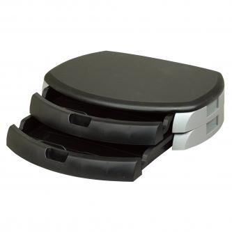 Podstavec pod monitor, se dvěma zásuvkami na kancelářské potřeby, černý, zpevněný plast, 40 kg nosnost