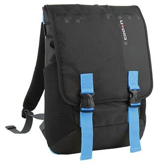 "Batoh na notebook 15,6"", černý s modrými prvky z nylonu, NB006, Crown"