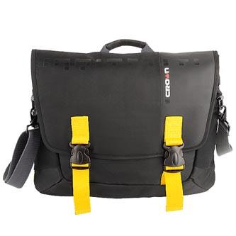 """Messenger na notebook 15,6"""", černá se žlutými prvky z nylonu, NT012 typ Crown"""