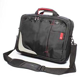 "Taška na notebook 15,6"", černá s červenými prvky z nylonu, NT007, Crown"