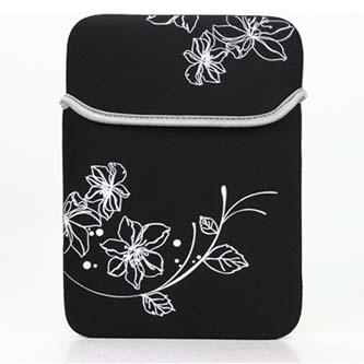 """Obal na notebook 12,1"""", SLEEVE, černý s květy z neoprénu"""