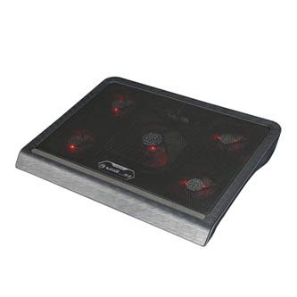 Stojan pod notebook, FN-33RD, podsvícený, s větrákem, černo-červený, Marvo, s 2-portovým hubem