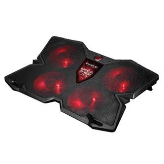 Stojan pod notebook, FN-38 RD, podsvícený, s větrákem, černo-červený, Marvo, s 2-portovým hubem
