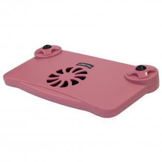 Stojan pod notebook, nastavitelný, s větrákem, růžový