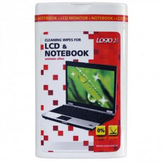 Čisticí trhací ubrousky, na LCD, notebooky, dóza, 50ks, LOGO
