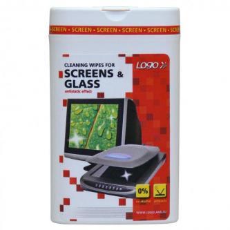 Čisticí trhací ubrousky na obrazovky, dóza, 50ks, LOGO