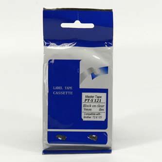 Master tape kompatibilní páska do tiskárny štítků, pro Brother, PT-S121, černý tisk/průsvitný podklad, nelaminovaná, 8m, 9mm