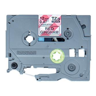 Brother originální páska do tiskárny štítků, Brother, TZE-MPRG31, černý tisk/bílý podklad, 4m, 12mm, červený vzor gingham