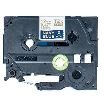 Brother originální páska do tiskárny štítků, Brother, TZE-RN34, zlatý tisk/modrý podklad, 4m, 12mm, pruhovaná