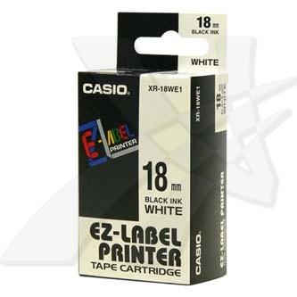 Casio originální páska do tiskárny štítků, Casio, XR-18WE1, černý tisk/bílý podklad, nelaminovaná, 8m, 18mm