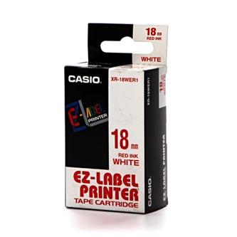 Casio originální páska do tiskárny štítků, Casio, XR 18 WER1, červený tisk/bílý podklad, ne, 8m, 18mm