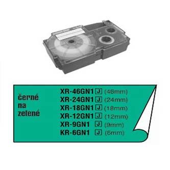 Casio originální páska do tiskárny štítků, Casio, XR-6GN1, černý tisk/zelený podklad, nelaminovaná, 8m, 6mm