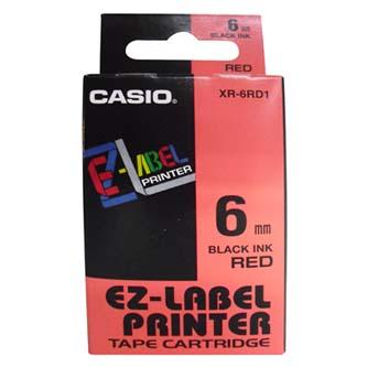 Casio originální páska do tiskárny štítků, Casio, XR-6RD1, černý tisk/červený podklad, nelaminovaná, 8m, 6mm
