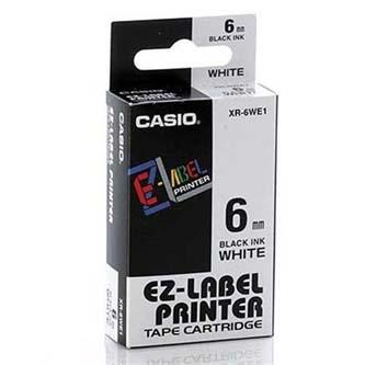 Casio originální páska do tiskárny štítků, Casio, XR-6WE1, černý tisk/bílý podklad, nelaminovaná, 8m, 6mm