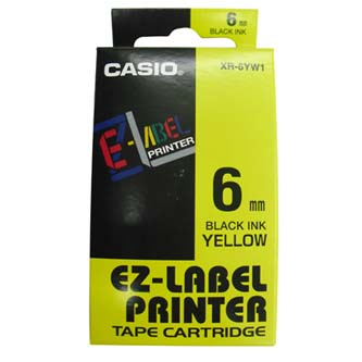 Casio originální páska do tiskárny štítků, Casio, XR-6YW1, černý tisk/žlutý podklad, nelaminovaná, 8m, 6mm