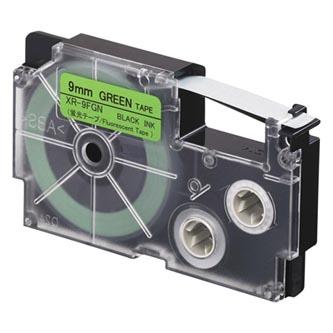Casio originální páska do tiskárny štítků, Casio, XR 9 FGN, černý tisk/zelený podklad, fluorescenční, 5.5m, 9mm