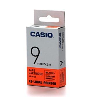 Casio originální páska do tiskárny štítků, Casio, XR 9 FOE, černý tisk/oranžový podklad, fluorescenční, 5.5m, 9mm