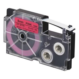 Casio originální páska do tiskárny štítků, Casio, XR 9 FPK, černý tisk/růžový podklad, fluorescenční, 5.5m, 9mm