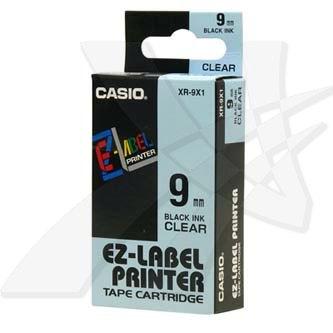 Casio originální páska do tiskárny štítků, Casio, XR-9X1, černý tisk/průhledný podklad, nelaminovaná, 8m, 9mm