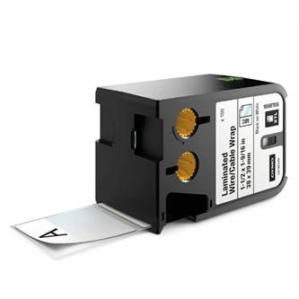 Dymo originální štítky, Dymo, 1868708, černý tisk/bílý podklad, 38mm x 39mm, 150ks, XTL laminované pro vodiče a kabely