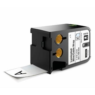Dymo originální štítky, Dymo, 1868709, černý tisk/bílý podklad, 38mm x 102mm, 75ks, XTL laminované pro vodiče a kabely