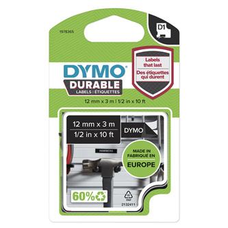 Dymo originální páska do tiskárny štítků, Dymo, 1978365, bilý tisk/černý podklad, 3m, 12mm, D1, permanentní vinylová