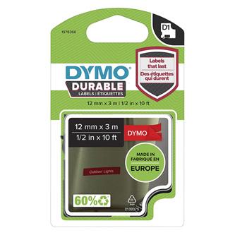Dymo originální páska do tiskárny štítků, Dymo, 1978366, bilý tisk/červený podklad, 3m, 12mm, D1, permanentní vinylová