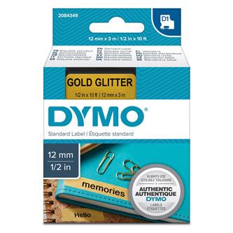 Dymo originální páska do tiskárny štítků, Dymo, 2084349, černý tisk/zlatý podklad, 3m, 12mm, D1