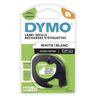 Dymo originální páska do tiskárny štítků, Dymo, 59421, S0721510, černý tisk/bílý podklad, 4m, 12mm, LetraTag papírová páska