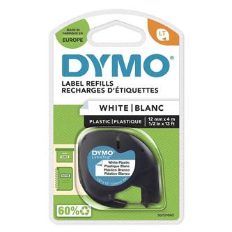 Dymo originální páska do tiskárny štítků, Dymo, 59422, S0721660, černý tisk/bílý podklad, 4m, 12mm, LetraTag plastová páska