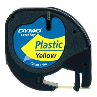 Dymo originální páska do tiskárny štítků, Dymo, 59423, S0721620, černý tisk/žlutý podklad, 4m, 12mm, LetraTag plastová páska