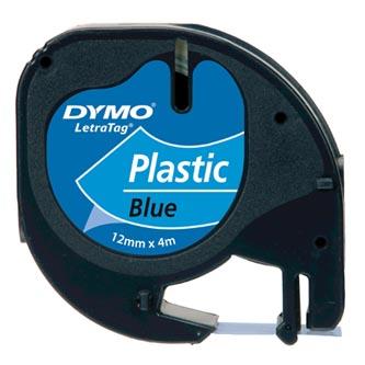Dymo originální páska do tiskárny štítků, Dymo, S0721650, černý tisk/modrý podklad, 4m, 12mm, LetraTag plastová páska