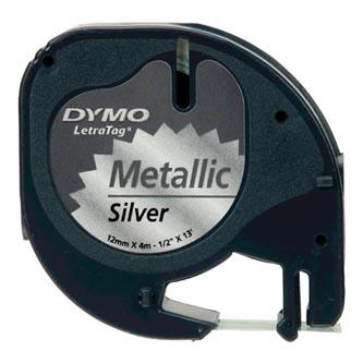Dymo originální páska do tiskárny štítků, Dymo, S0721730, černý tisk/stříbrný podklad, 4m, 12mm, LetraTag metalická páska