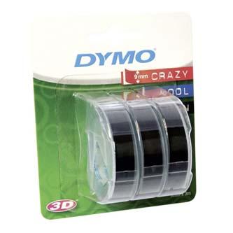 Dymo originální páska do tiskárny štítků, Dymo, S0847730, černý podklad, 3m, 9mm, 3D, 1 blistr/3 ks