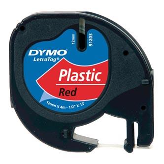 Dymo originální páska do tiskárny štítků, Dymo, 91203, S0721630, černý tisk/červený podklad, 4m, 12mm, LetraTag plastová páska