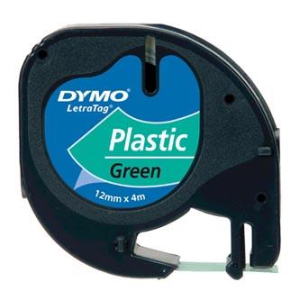 Dymo originální páska do tiskárny štítků, Dymo, 91204, S0721640, černý tisk/zelený podklad, 4m, 12mm, LetraTag plastová páska