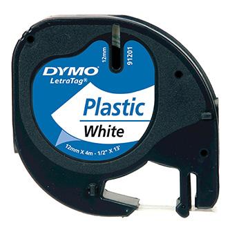 Dymo originální páska do tiskárny štítků, Dymo, 91221, S0721660, černý tisk/bílý podklad, 4m, 12mm, LetraTag plastová páska