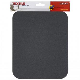 Podložka pod myš, měkká, černá, 24x22x0,3 cm, Logo