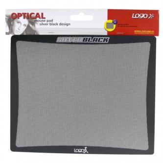 Podložka pod myš, SilverBlack, S polypropylenovým filmem, černo-stříbrná, Logo, pro optické a laserové myši, matná