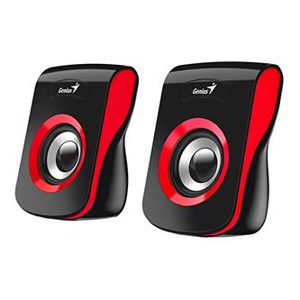 Genius reproduktory SP-Q180, 2.0, 6W, černočervené, regulace hlasitosti, stolní, 150Hz-20kHz