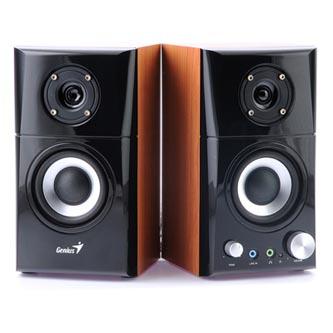 Genius reproduktory SP-HF 500A, 2.0, 14W, hnědo-černé, regulace hlasitosti, dřevěné, 100Hz-20kHz