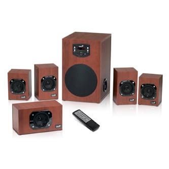 Genius reproduktory SW-HF 5.1 4600, 5.1, 125W, regulace hlasitosti, hnědo-černé, domácí kino, 3.5mm konektor40Hz-20kHz