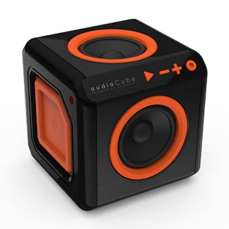 POWERCUBE reproduktor AudioCube, 1.0, 20W, ovládání hlasitosti, černo-oranžový, 3.5mm konektor