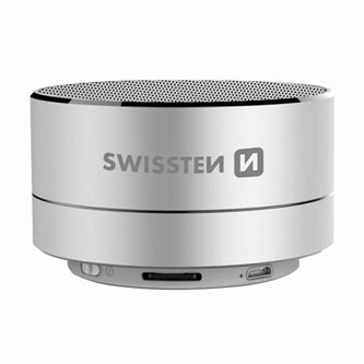 SWISSTEN bluetooth reproduktor, i-METAL, 3W, regulace hlasitosti, stříbrný, bluetooth+USB, konektorkovový