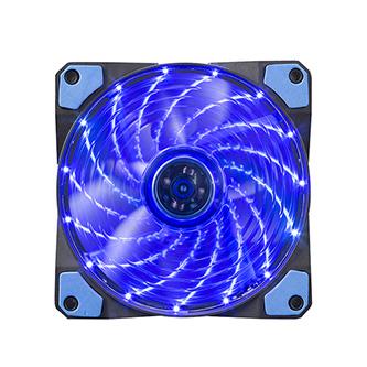 Ventilátor, modrý, 15 led, svítící, 12 cm, Marvo
